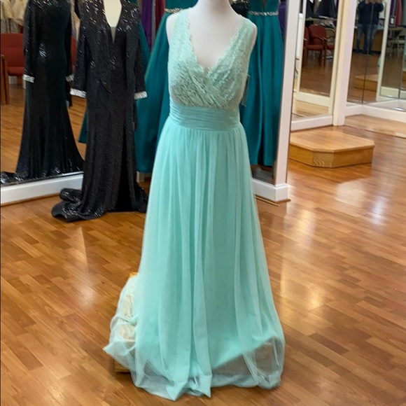 Christina Wu Dresses & Skirts - Suzi mint green lace full length bridesmaid dress